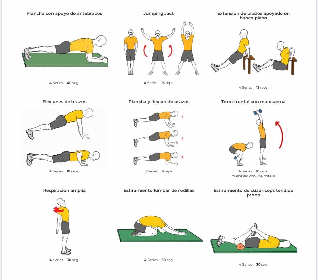 ejercicios físicos para casa